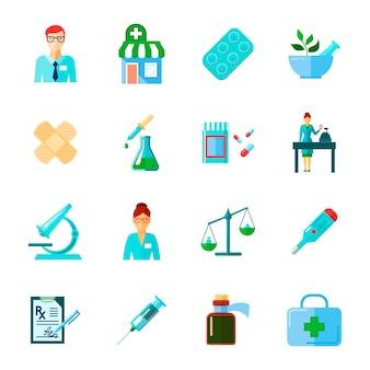 Farmaceuta ikona na białym tle płaski zestaw z lekami i metody użycia różnych instrumentów medycznych wektorowych ilustracji