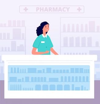 Farmaceuta. leki w aptece, apteka szpitalna. pielęgniarka farmaceutyczna za ladą. ilustracja sprzedawca młodych narkotyków