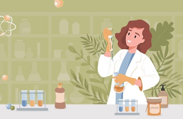 Farmaceuta lub naukowiec w fartuchu laboratoryjnym, trzymając strzykawkę z naturalną surowicą ziołową