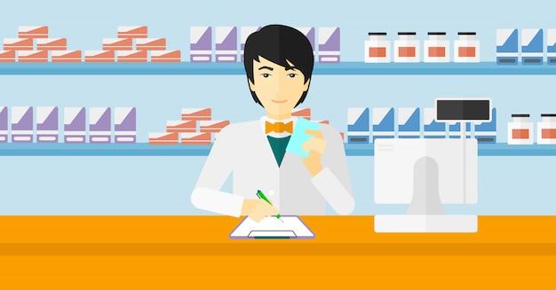 Farmaceuta robi notatki.