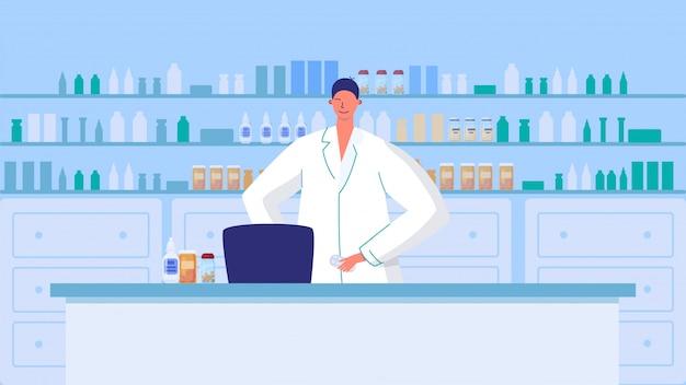 Farmaceuta w aptece, mężczyzna pracuje w aptece, wektorowa ilustracja