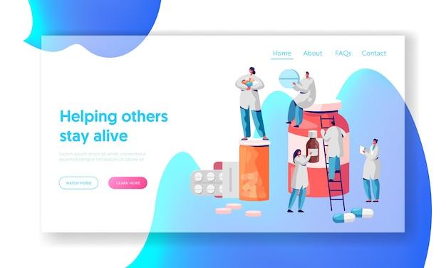 Farmaceuta znak apteka landing page. profesjonalni ludzie z branży farmaceutycznej. witryna internetowa lub strona internetowa w tle infografiki opieki zdrowotnej online. ilustracja wektorowa płaski kreskówka