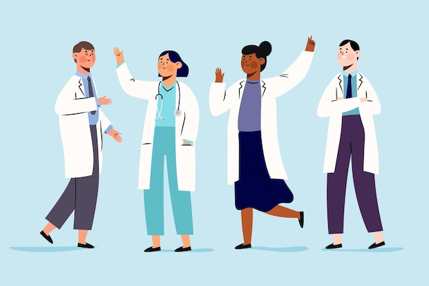 Farmaceuty ludzi stojących i wiwatujących
