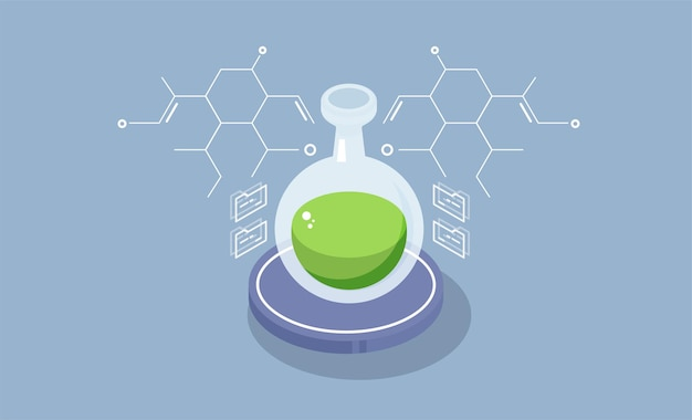 Farmaceutyczne badania izometryczne. laboratorium chemiczne tło z wyposażeniem.