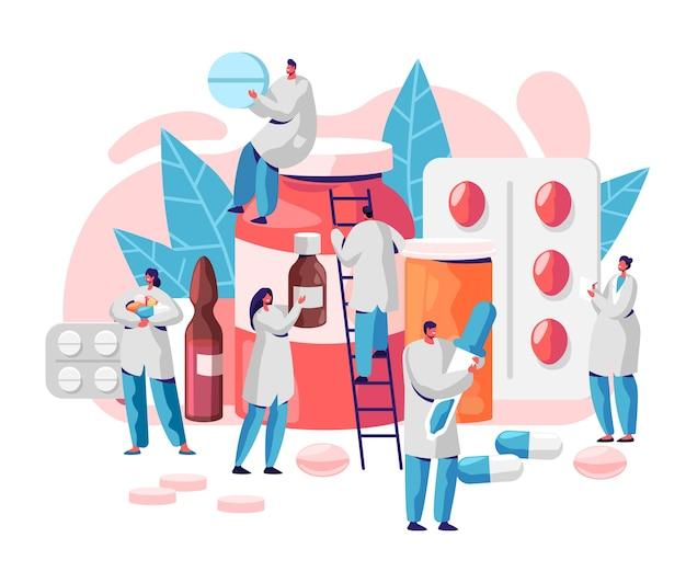 Farmacja biznes medycyna apteka charakter. opieka farmaceuty nad pacjentem. profesjonalna nauka farmaceutyczna. infografika infografika pigułki online. ilustracja wektorowa płaski kreskówka