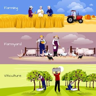 Farming people 3 płaskie poziome bannery ustawione