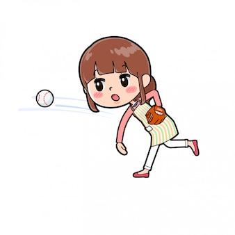 Fartuch mamo rzuca piłkę
