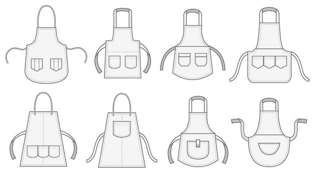 Fartuchy kuchenne. fartuch z kieszenią na szew, białym mundurem kuchennym i zestawem ilustracji z fartuszkami pokojówki