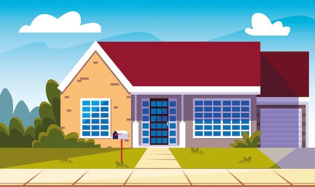 Fasada budynku domu z krajobrazem
