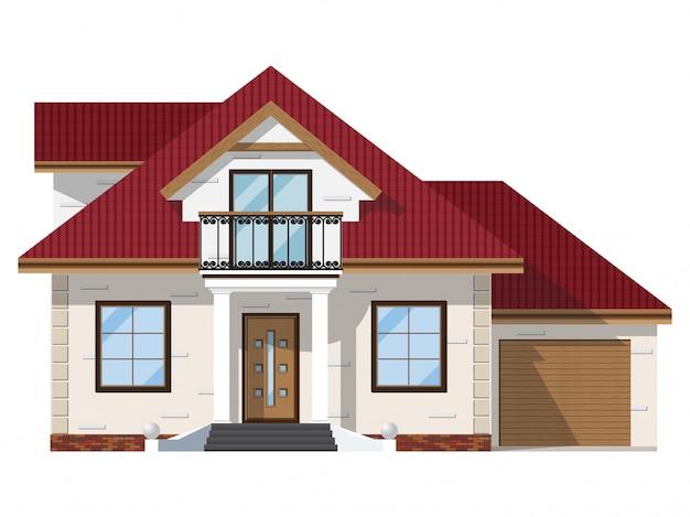 Fasada domu z cegły z balkonem i garażem.