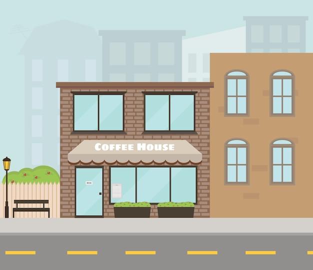 Fasada domu z kawiarnią, kawiarnią. ulica miasta nowoczesne budownictwo.