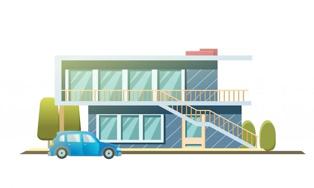 Fasada kamienicy, domek. podmiejski dom z samochodem.