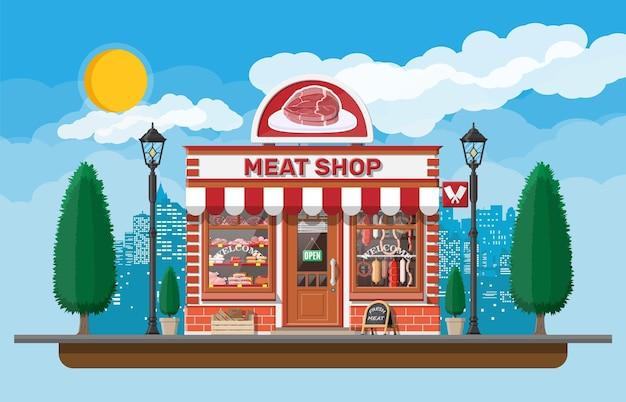 Fasada sklepu mięsnego w stylu vintage z witryną sklepową