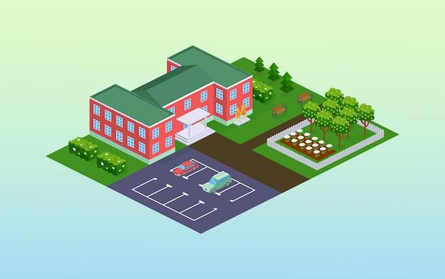 Fasada szkoły lub przedszkola z izometrycznym parkiem. odkryty dziecięcy budynek edukacyjny na zewnątrz