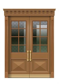 Fasada ze starymi drewnianymi drzwiami wejściowymi
