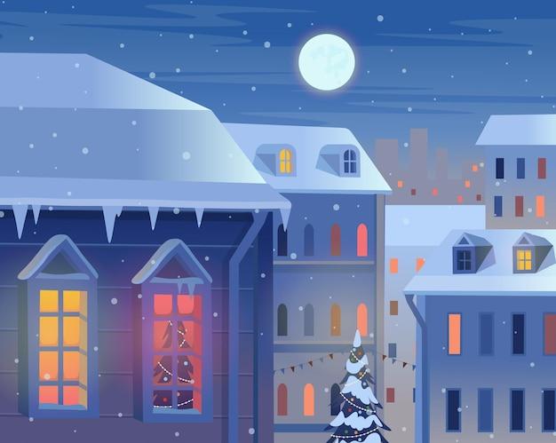 Fasady domów zimą nocą krajobraz z miastem i księżycem