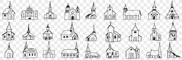 Fasady kościoła z wieżami doodle zestaw