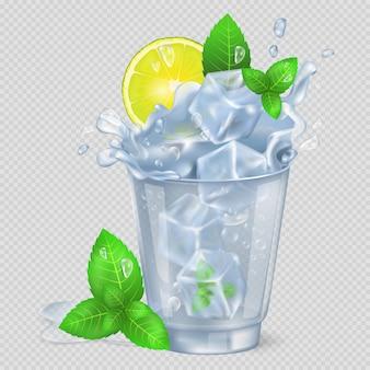 Fasetowane szkło mojito z lodową ilustracją