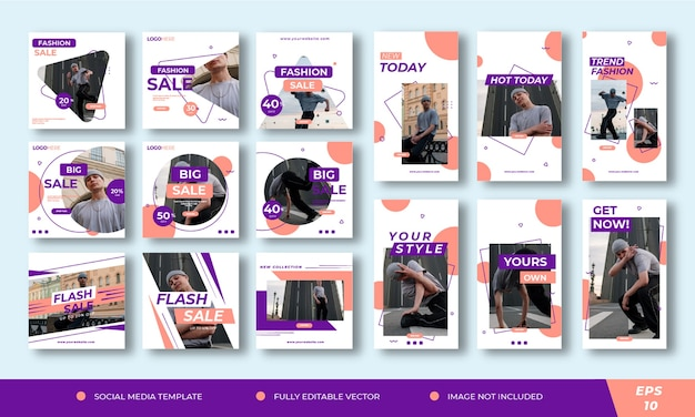 Fashion ads pack.social media template post and stories