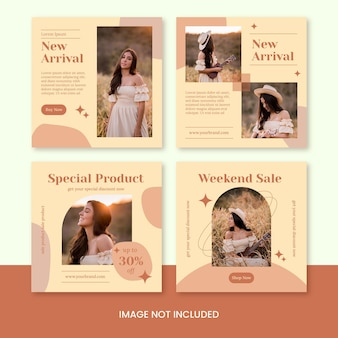 Fashion beauty shop instagram feed post banner template