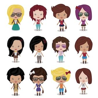 Fashion cartoon girls. ilustracja clipart. kolorystyka opatrunku.