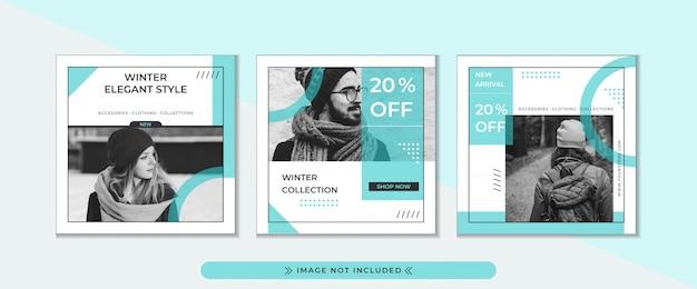 Fashion store specjalna zimowa promocyjna promocja szablonu banner kwadratowy.