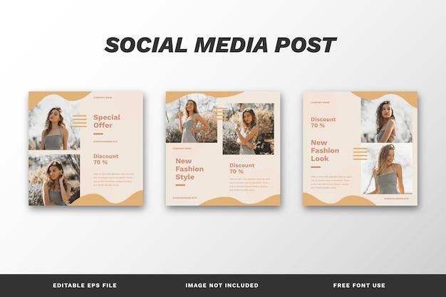 Fashion style social media post set template