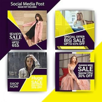 Fashion week sprzedaż szablon mediów społecznościowych post