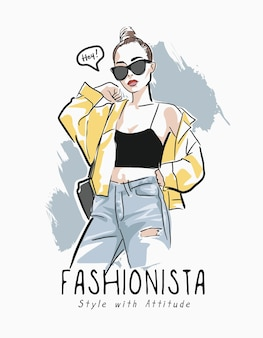 Fashionista slogan z ręcznie rysowane ilustracji moda kobieta
