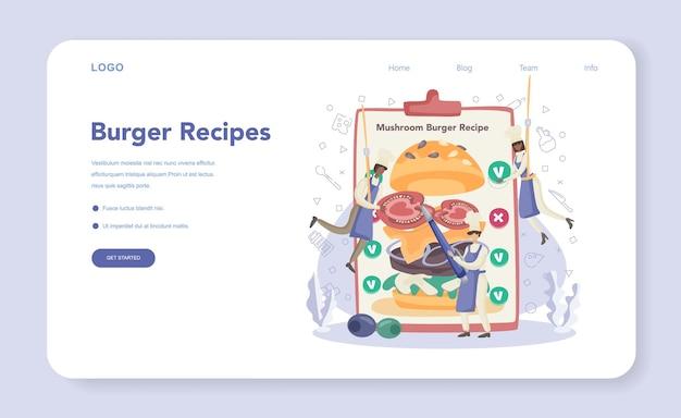 Fast food, baner internetowy z burgerami lub strona docelowa
