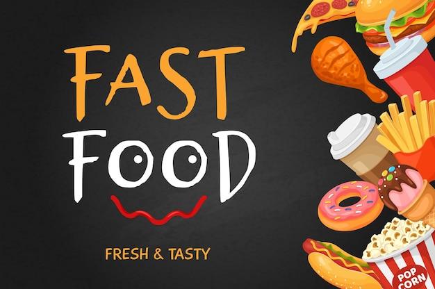 Fast food banner kreskówka hot dog popcorn pączek kawa pizza kurczak cola restauracja ulotka