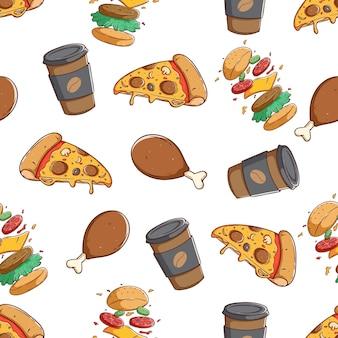Fast food bezszwowe wzór z kolorowym ręcznie rysować sytle
