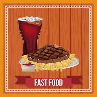 Fast food combo z wstążką banner na drewniane tła