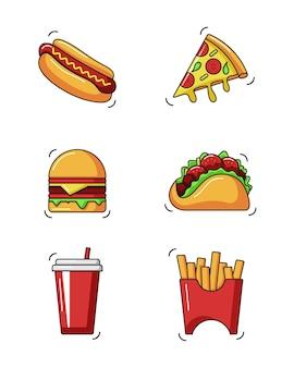 Fast food doodle kreskówka wektor ilustracja