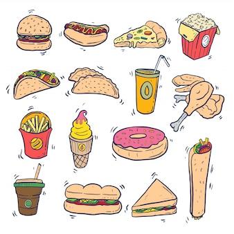 Fast food doodle sztuki ustaw na izolowanych