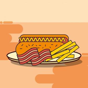 Fast food frytki i boczek z hot dogami