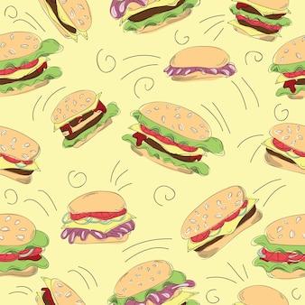 Fast food hamburger doodle zestaw - bezszwowa ilustracja wektorowa