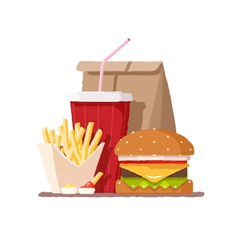 Fast food. hamburger. frytki i napoje gazowane w szklance.