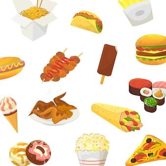 Fast food. hamburger, pizza, pieczony kurczak i kukurydza pop z sushi i lodami na białym tle