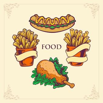 Fast food hotdog, frytki z kurczaka zestaw ilustracji