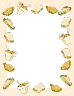 Fast food i kanapki ornament w komiks stylu gryzmoły szablon widok z góry pocztówki. format listowy z miejscem na tekst.
