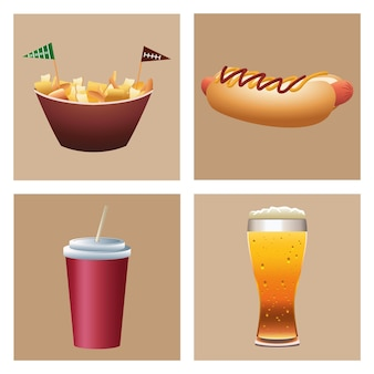 Fast food i napoje zestaw ikon ilustracji