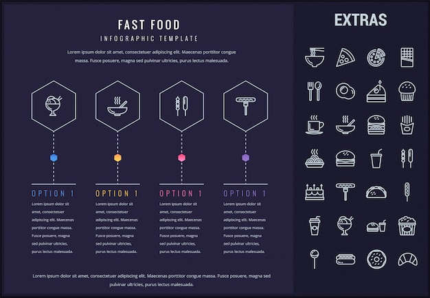 Fast food infographic szablon i elementy