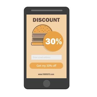Fast food kupon rabatowy szablon płaska konstrukcja - formularz subskrypcji e-mail promocyjny