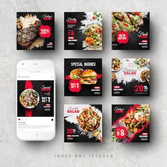 Fast food media społecznościowe instagram feed post banner szablon