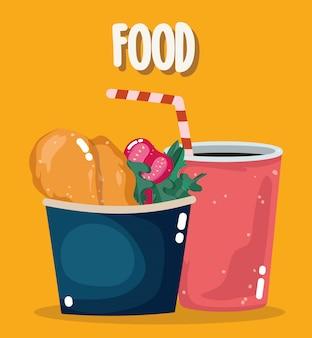 Fast food menu restauracji niezdrowy kurczak i pomidory w pudełku i ilustracji sody