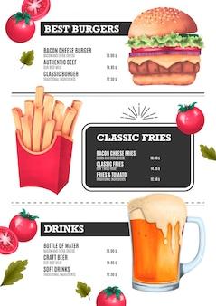 Fast food menu template z ilustracjami hamburgera, frytek i piwa