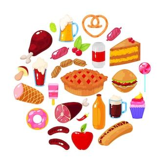 Fast food na białym tle. ilustracji wektorowych.