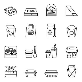 Fast food. na wynos. ikony paczek do dostawy.