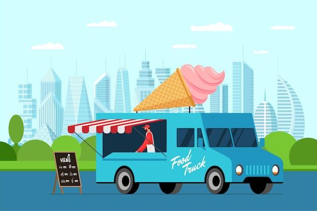 Fast food niebieska ciężarówka z kucharzem na świeżym powietrzu w parku miejskim. lody w rożku waflowym na dachu furgonetki. serwis samochodów dostawczych plombir. targi na ulicy z kołami gastronomicznymi. wektorowa ilustracja reklamowa